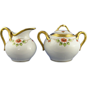 Pickard Studios Poinsettia Design Creamer & Sugar Set (c.1912-1918)