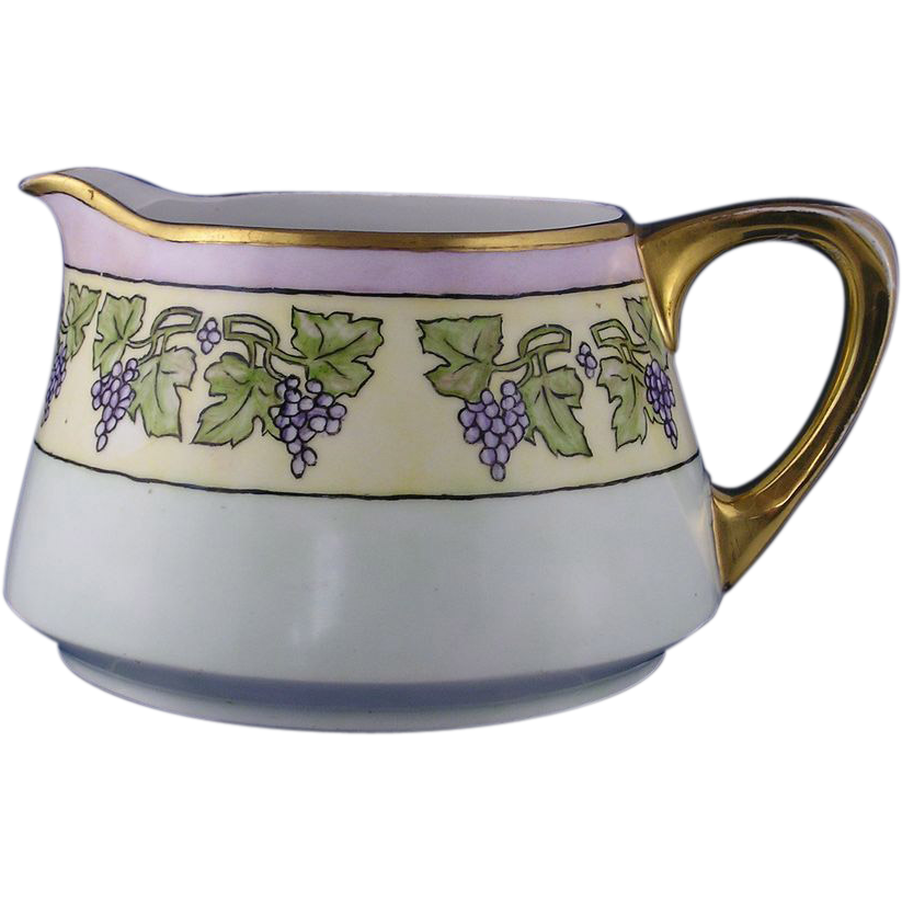 Heinrich & Co. (H&Co.) Bavaria Arts & Crafts Grape Motif Pitcher (c.1900-1930)