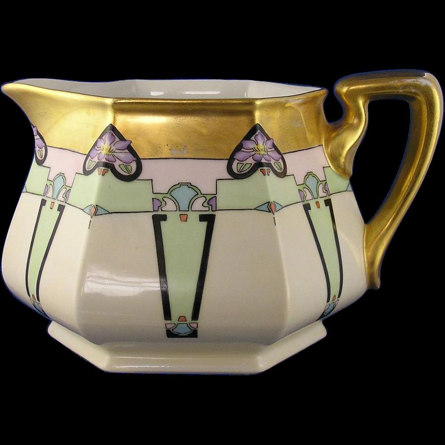 Bernardaud & Co. (B&Co.) Limoges Art Deco Floral & Geometric Design Pitcher (c.1914-1930)