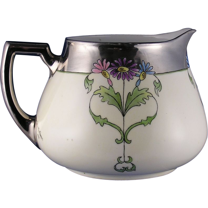"Zeh, Scherzer & Co. (ZS&Co.) Bavaria Arts & Crafts Floral Motif Pitcher (Signed ""Viola Mae Goebel""/Dated 1919)"