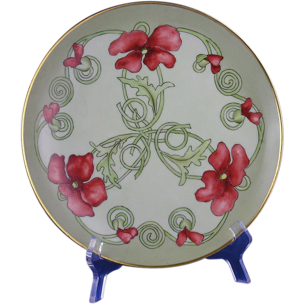 George Bassett Limoges Arts & Crafts Poppy Motif Plate (Signed/c.1900-1914)