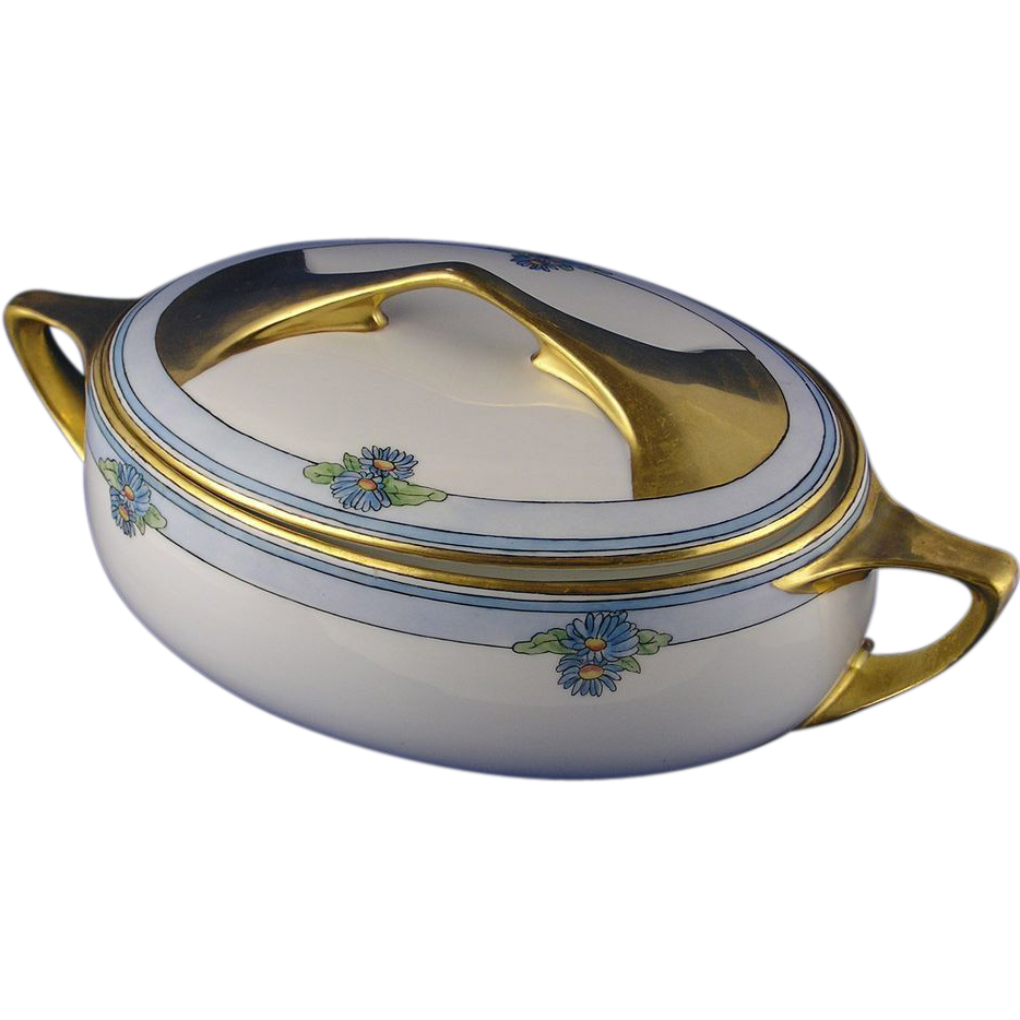 Rosenthal Selb Bavaria Donatello Arts & Crafts Floral Motif Covered Serving Dish (c.1907-1940)