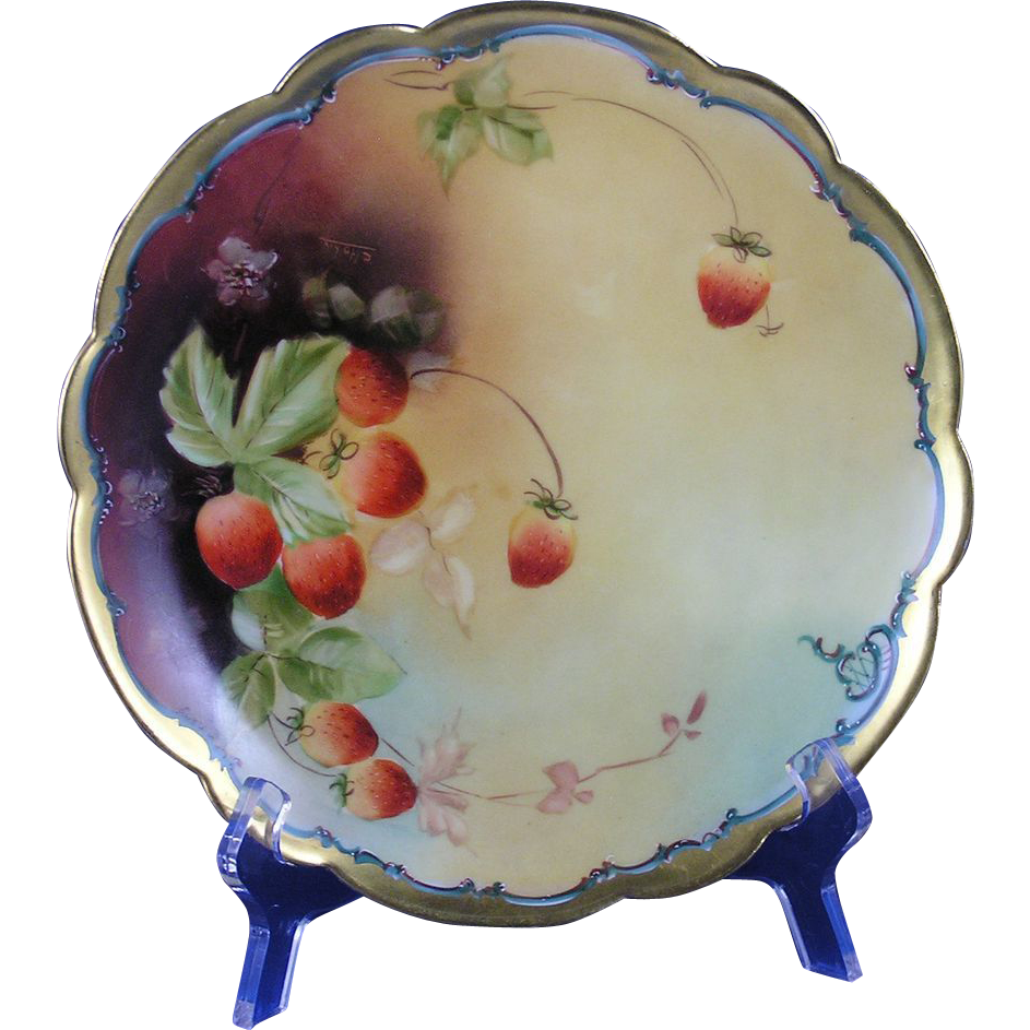"Limoges Mark 6 Pickard Studios RARE Interim Mark 3 Strawberry Design Plate (Signed ""C. Hahn""/c.1903)"