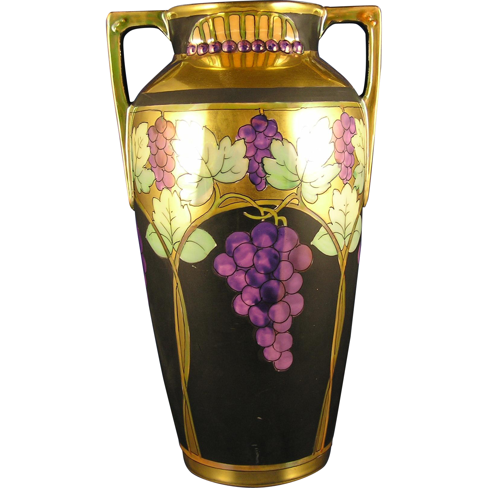 "Pickard Studios ""Lustre Grapes & Leaves"" Design Vase (c.1903-1905)"
