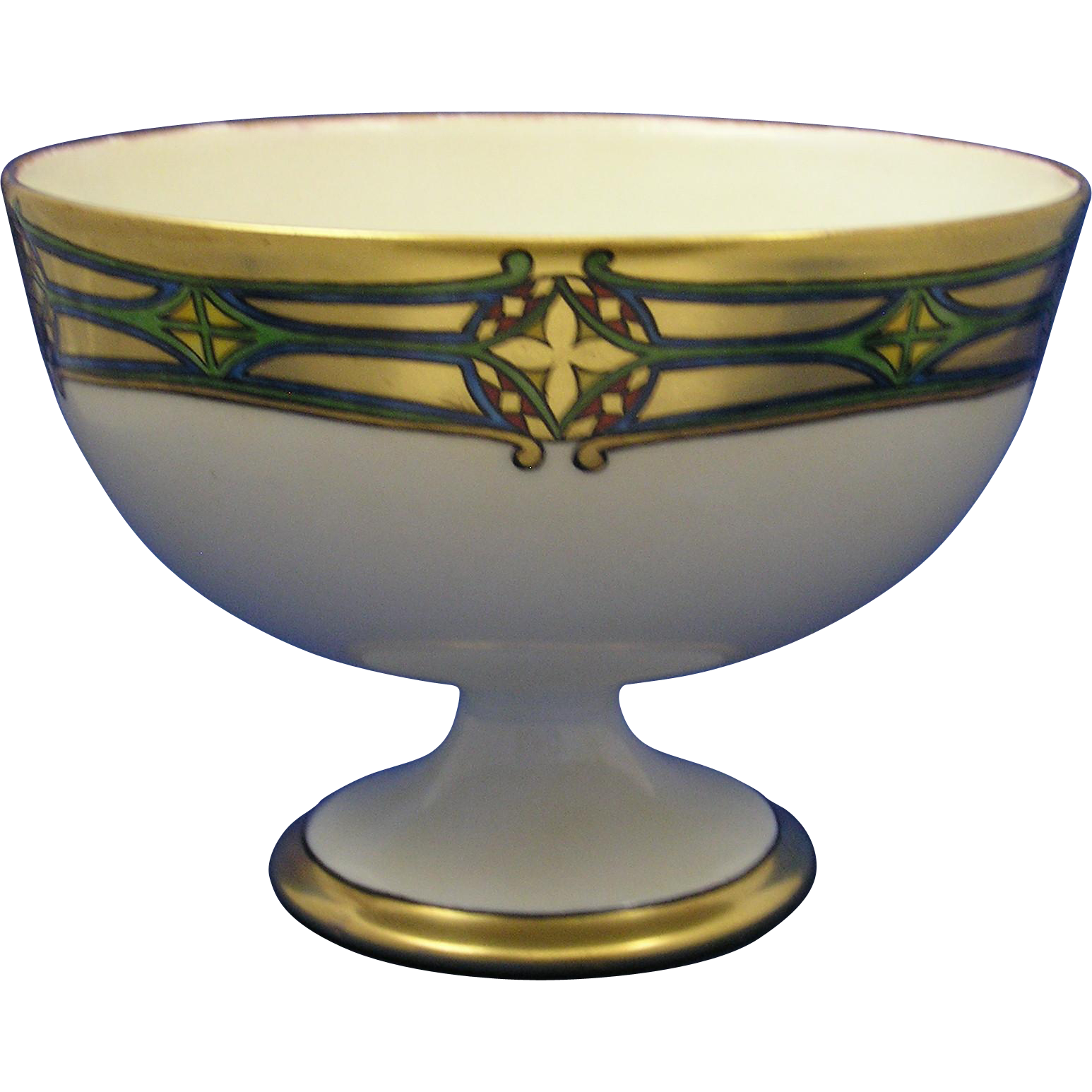 "Bavaria Blank Porcelain Arts & Crafts Geometric Design Pedestal Bowl (Signed ""A. Wick""/c.1911)"