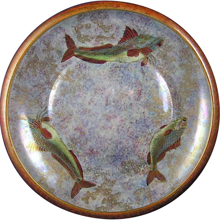 A.G. Harley-Jones Factory Wilton Ware Stoke-On-Trent England Lustre/Cloisonné-Style Fish Motif Centerpiece Bowl (c.1904-1934)