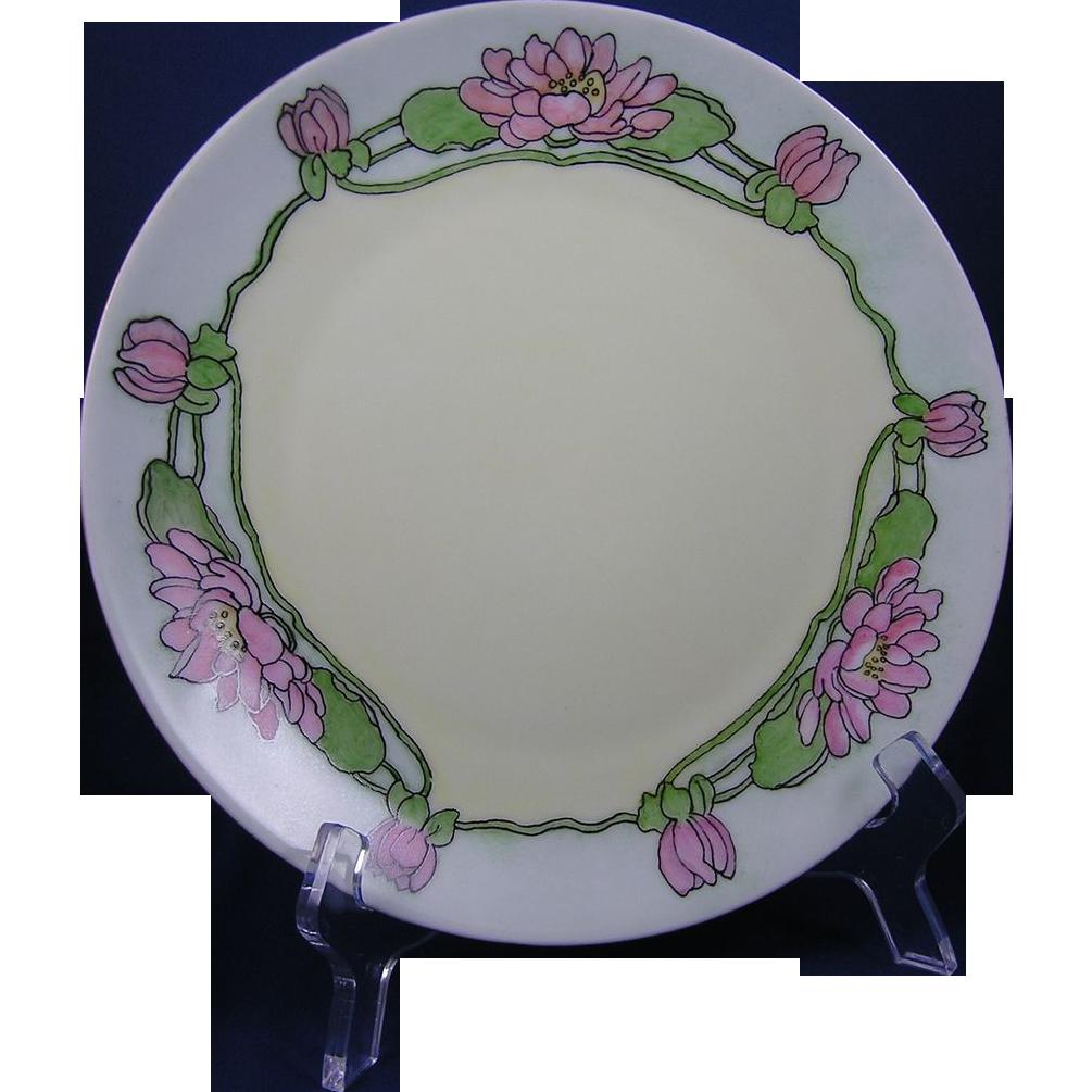 Thomas Bavaria Arts & Crafts Lotus Blossom Motif Plate (c.1908-1930)