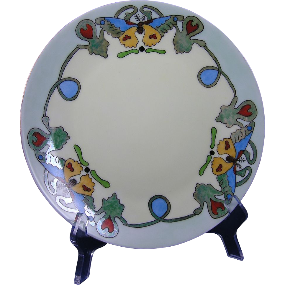 Thomas Bavaria Arts & Crafts Butterfly Motif Plate (c.1908-1930)