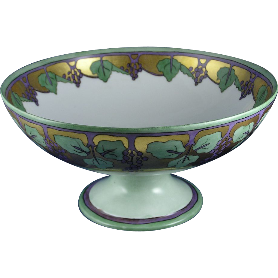 "Haviland Limoges Arts & Crafts Grape Motif Pedestal Centerpiece Bowl (Signed ""Helen Black""/Dated 1910)"