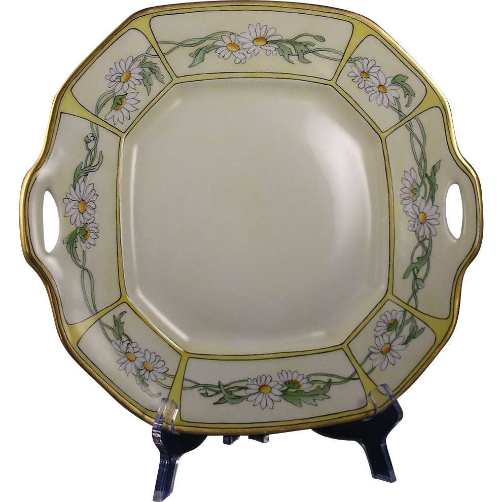 Bernardaud & Co. (B&Co.) Limoges Arts & Crafts Daisy Motif Handled Serving Plate (Signed/c.1900-1914)
