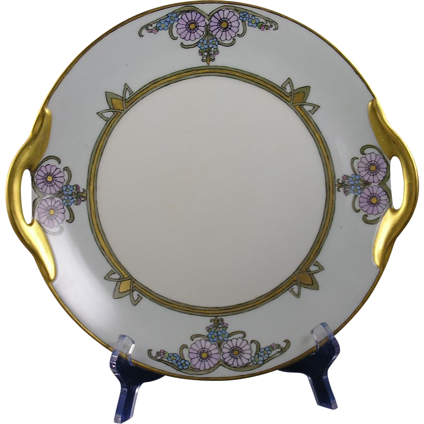 "Jaeger & Co. (JC) Arts & Crafts Floral Motif Handled Serving Plate (Signed ""J.M.S.""/Dated 1923)"