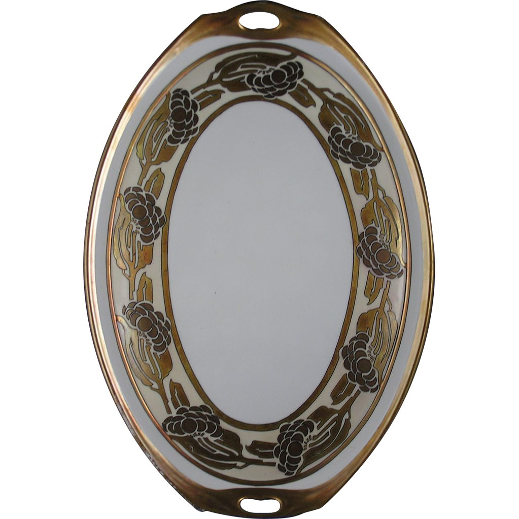 Schonwald Porcelain Bavaria Arts & Crafts Metallic Organic Design Handled Tray (c.1911-1945)