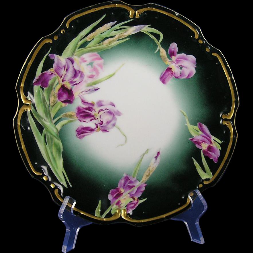 Tressemann & Vogt (T&V) Limoges Iris Motif Plate (c.1900)