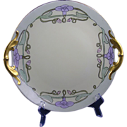Jaeger & Co. (JC) Bavaria Arts & Crafts Morning Glory Design Handled Plate (c.1902-1930)