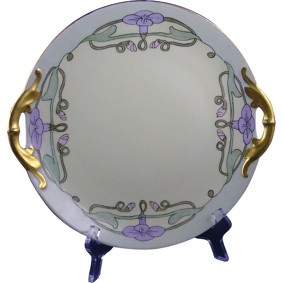Jaeger & Co. (JC) Bavaria Arts & Crafts Morning Glory Design Handled Plate (c.1902-1930)