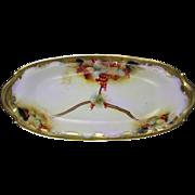 """Tressemann & Vogt (T&V) Limoges Pickard Studios Currant Design Serving Dish/Tray (Signed """"M. Rost LeRoy""""/c.1903-1905)"""