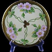 """E. W. Donath Studios Pink Wild Rose Design Plate (Signed """"Kitt"""" for Joseph R. Kittler/c.1906-1928)"""
