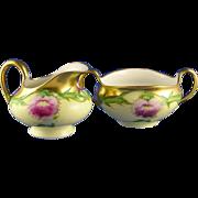 """Tressemann & Vogt (T&V) Limoges Stouffer Studios Pink Thistles Creamer & Sugar Set (Signed """"E.S.P.""""/c.1906-1914)"""