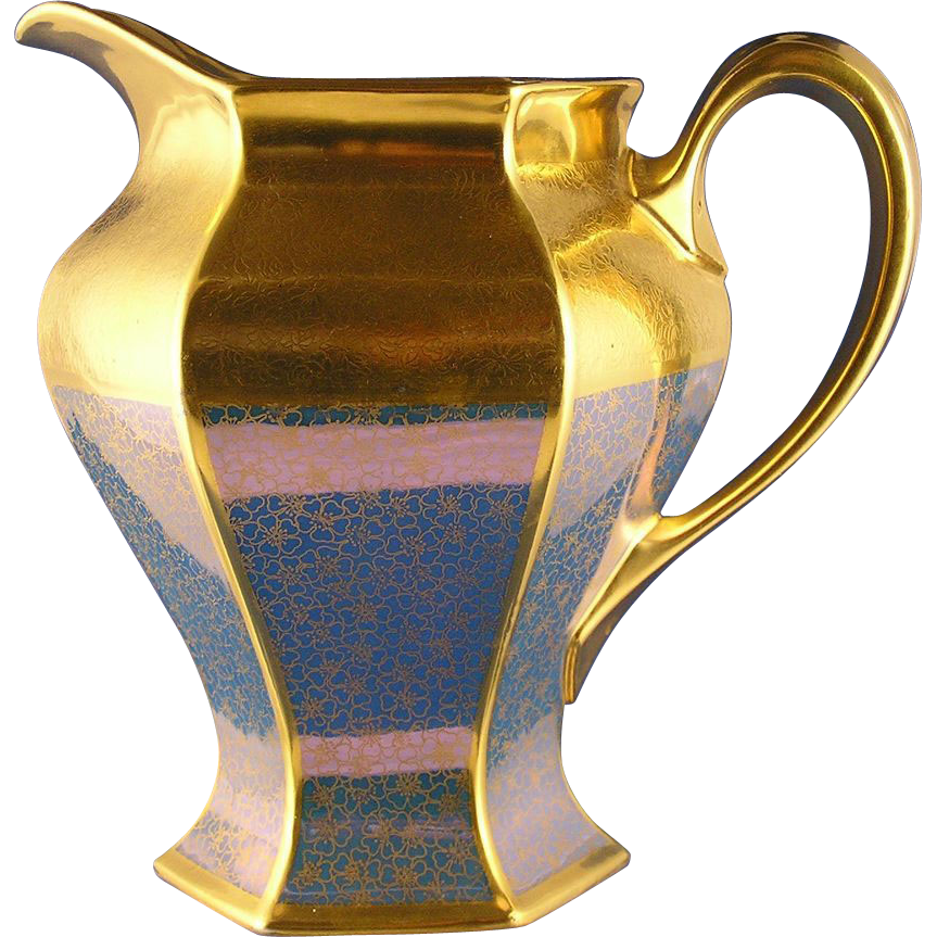 "Bernardaud & Co. (B&Co.) Limoges Pickard Studios ""Tracery & Blue Lustre"" Design Pitcher (c.1919-1922)"