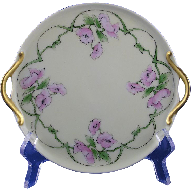 "RS Germany Arts & Crafts Floral Motif Handled Plate (Signed ""E.M. Kinser""/c.1904-1938)"