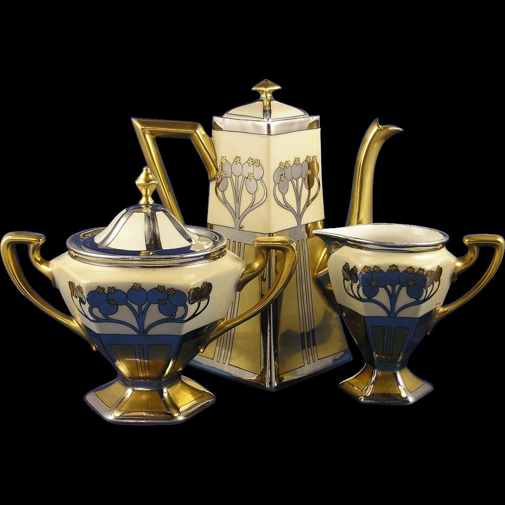 "Delinieres & Co. (D&Co.) Limoges Pickard Studios ""Aura Argenta"" Design Coffee Pot, Creamer & Sugar Set (Signed ""Hess"" for Robert Hessler & ""O.P."" for Otto Podlaha/c.1905-1910)"
