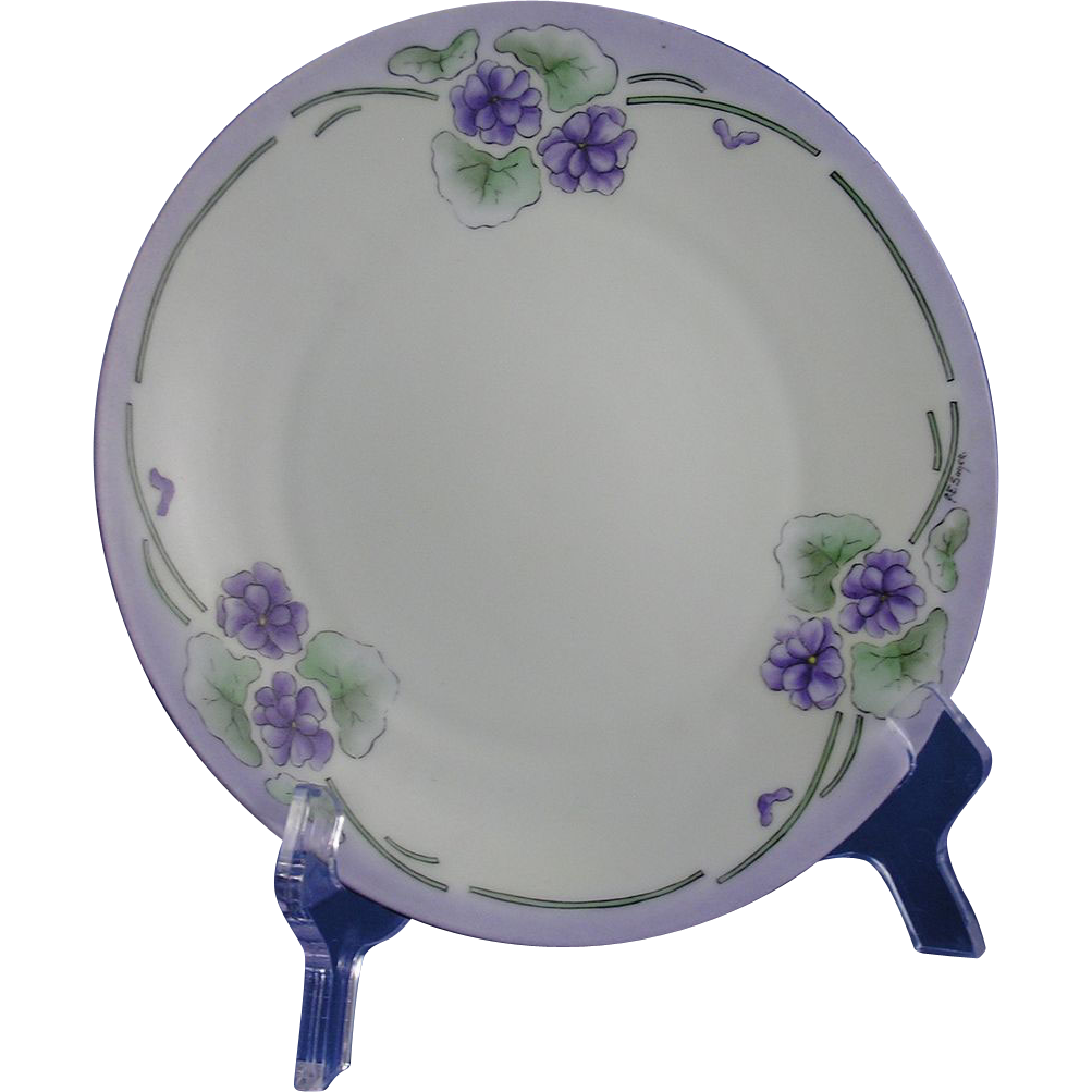 "Hermann Ohme Silesia Arts & Crafts Violets Design Plate (Signed ""A.E. Sager""/c.1882-1918)"