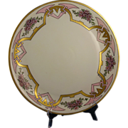 """Hutschenreuther Selb Favorite Bavaria Arts & Crafts Pink Floral Motif Charger/Plate (Signed """"Gladys Norton""""/Dated 1914)"""