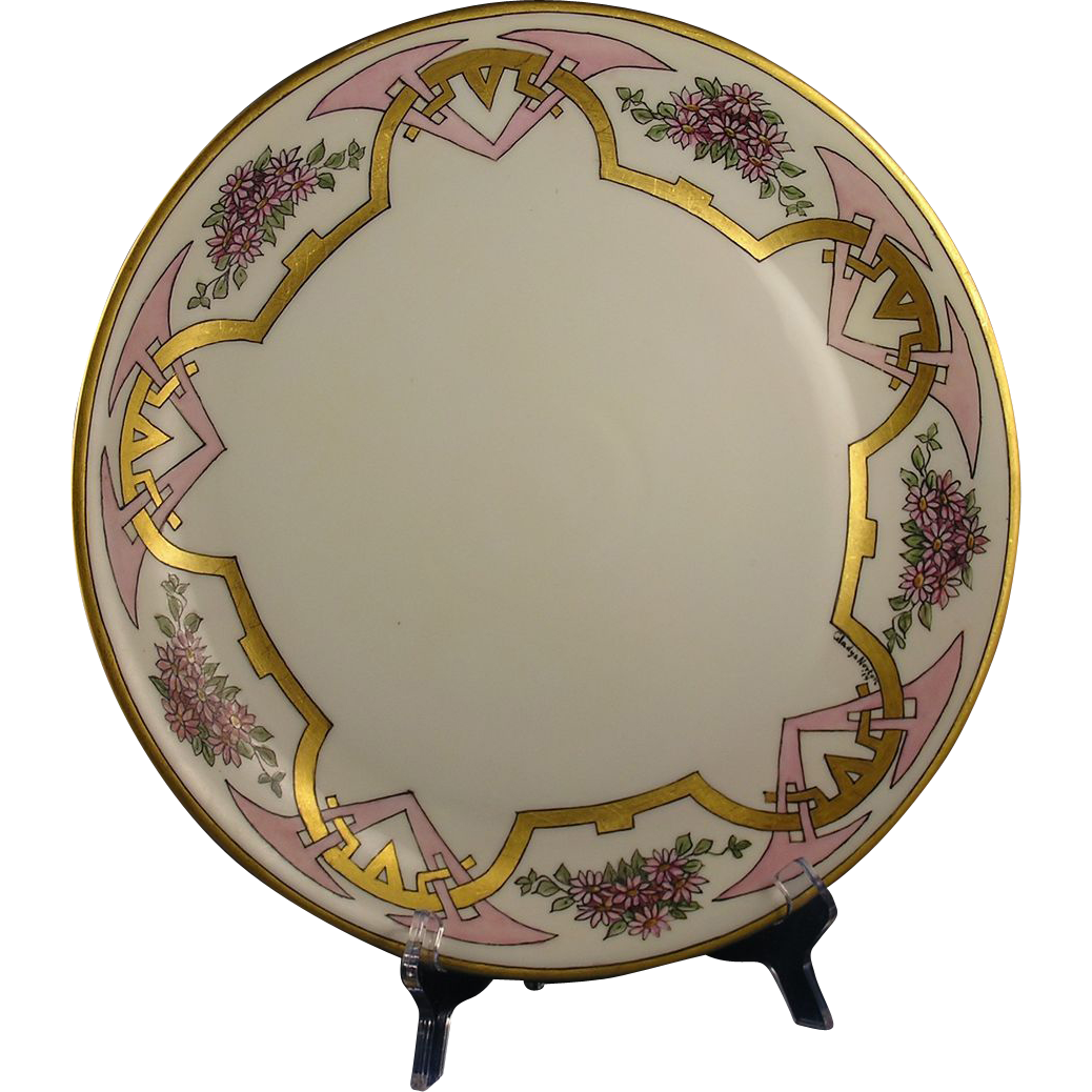 "Hutschenreuther Selb Favorite Bavaria Arts & Crafts Pink Floral Motif Charger/Plate (Signed ""Gladys Norton""/Dated 1914)"