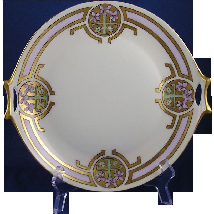 "Hutschenreuther Selb Favorite Bavaria Arts & Crafts Pink Floral Motif Handled Serving Plate (Signed ""Gladys Norton""/Dated 1914)"
