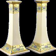 Bernardaud & Co. (B&Co.) Limoges Arts & Crafts Floral Motif Candlesticks (Dated 1927)