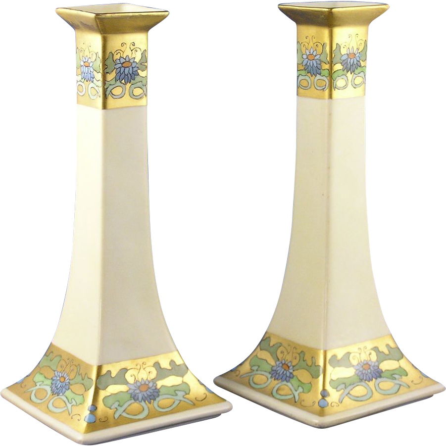 Bernardaud & Co. (B&Co.) Limoges Arts & Crafts Floral Motif Candlesticks (Dated 1927)