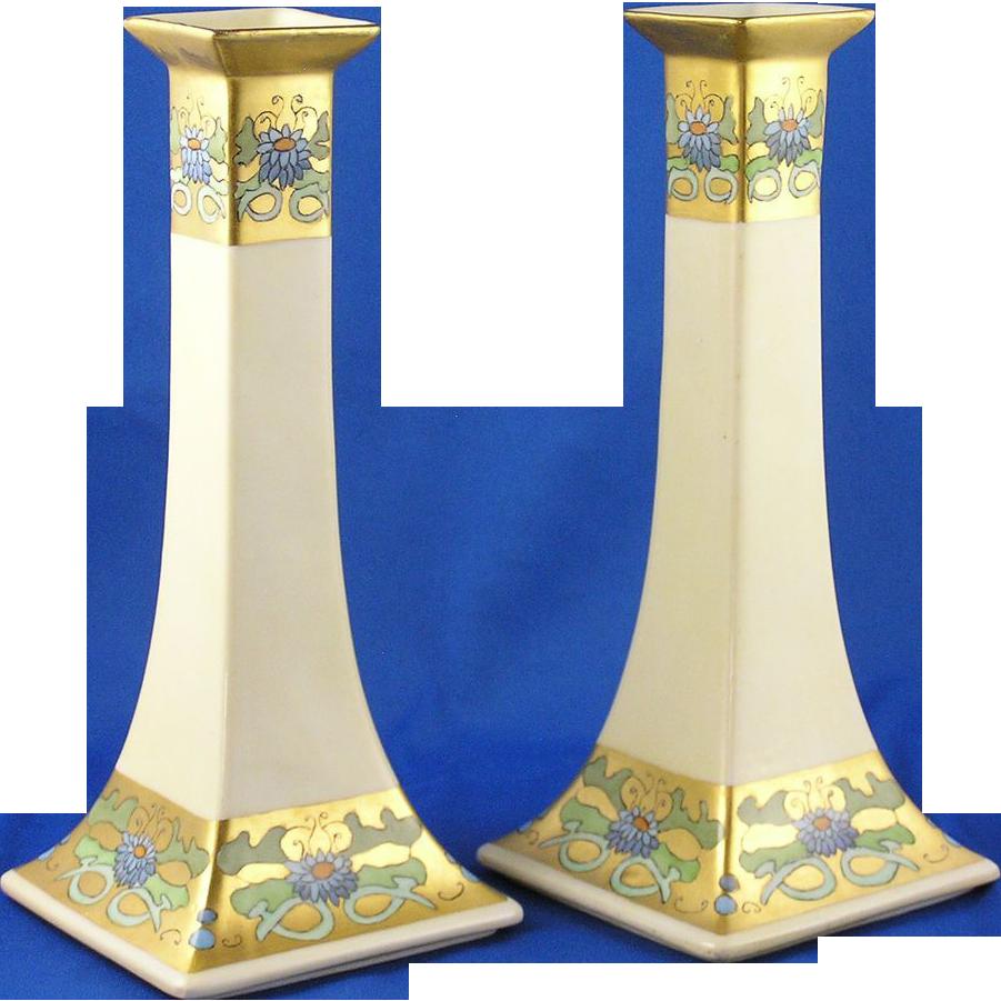 Bernardaud & Co. (B&Co.) Limoges Arts & Crafts Floral Motif Candlesticks (Dated 1927) - Keramic Studio Design