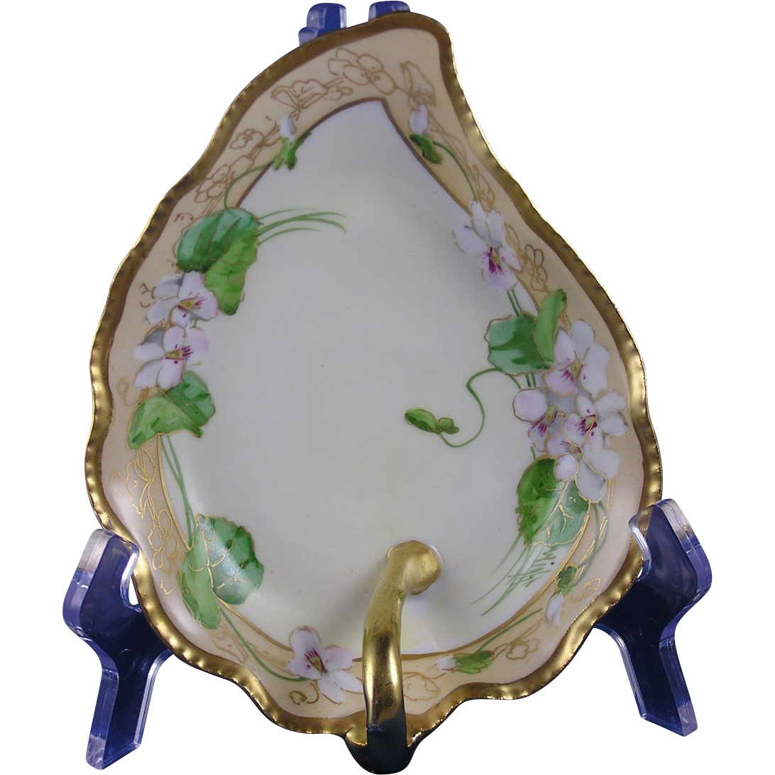 "Coiffe Limoges White Violet Design Handled Dish (Signed by Pickard Artist ""Wight""/c.1910-1920)"