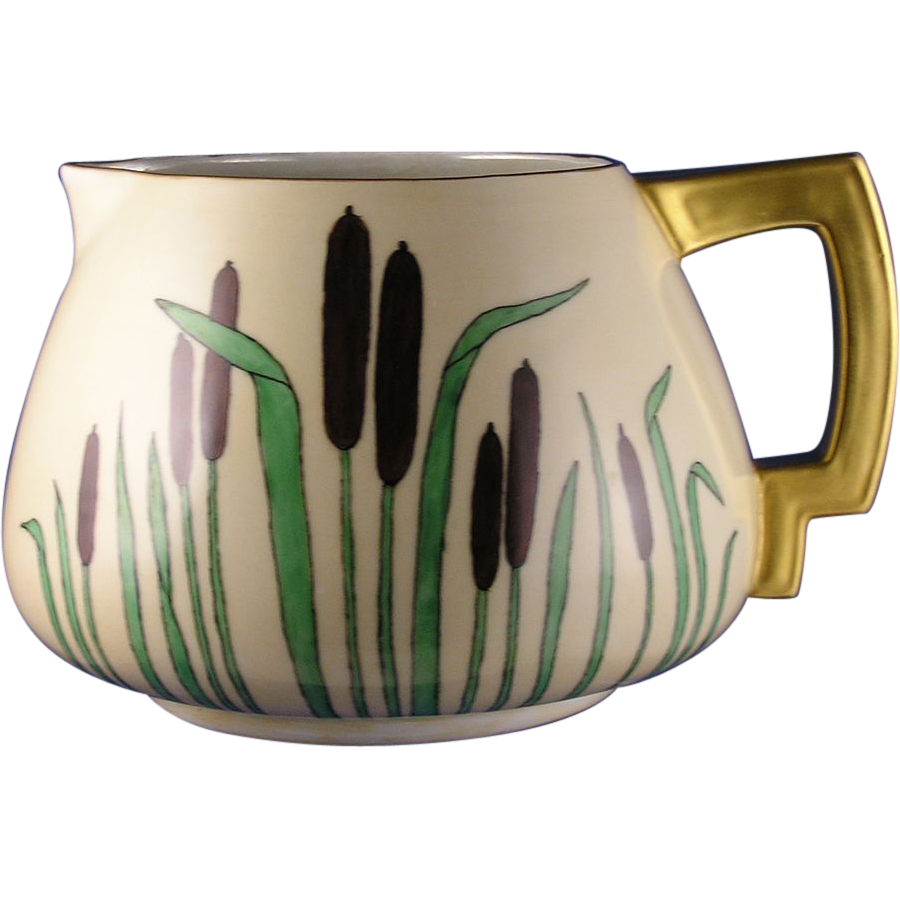 Count Thun (TK) Czechoslovakia Arts & Crafts Cattail Motif Pitcher (c.1918-1939)