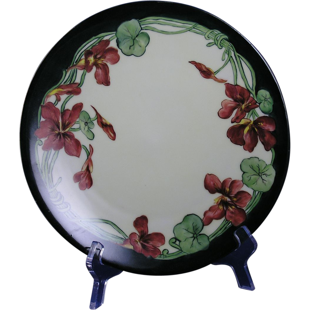 Tressemann & Vogt (T&V) Limoges Arts & Crafts Nasturtium Motif Plate (c.1900-1920) - Keramic Studio Design