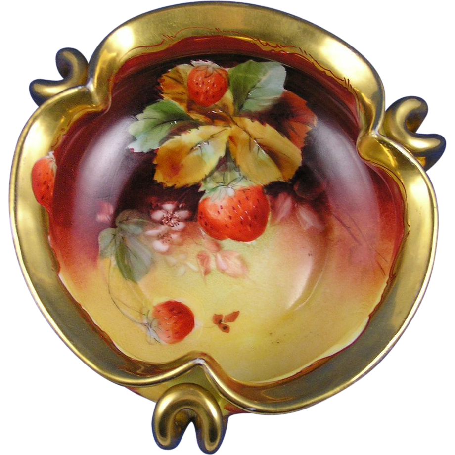 Pickard Studios Strawberry Design Handled Bowl (c.1903-1905)