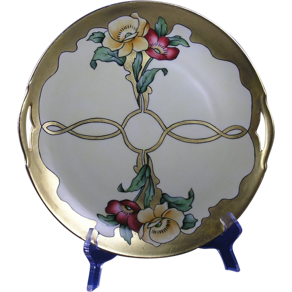 Krister Porcelain Manufactory (KPM) Germany Arts & Crafts Poppy Motif Handled Plate (c.1904-1927)