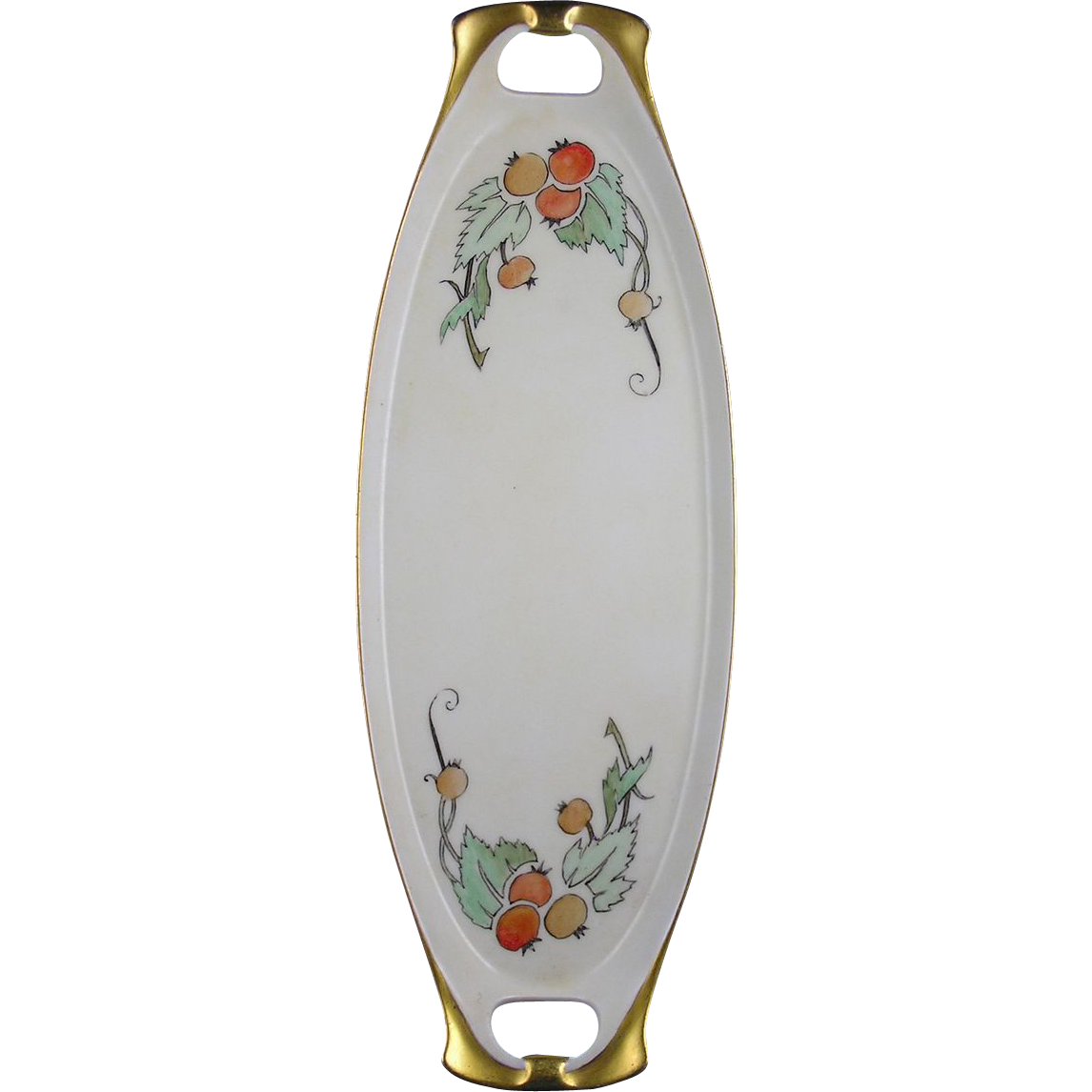RS Germany Arts & Crafts Fruit Motif Handled Tray (c.1904-1938)