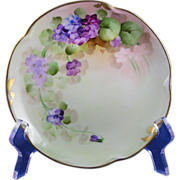 "Pickard Studios Violet Design Plate (Signed ""M.P."" for Minnie Pickard/c.1905-1910)"