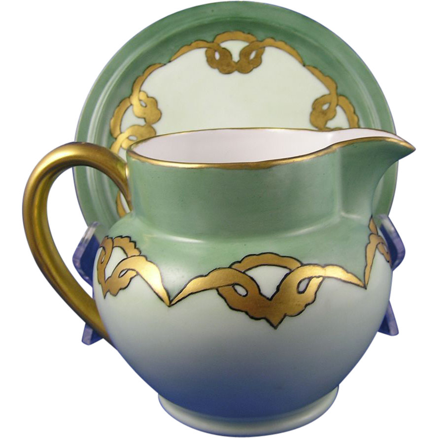 Delinieres & Co. (D&Co.) Limoges Arts & Crafts Pitcher & Plate Set (c.1894-1900)