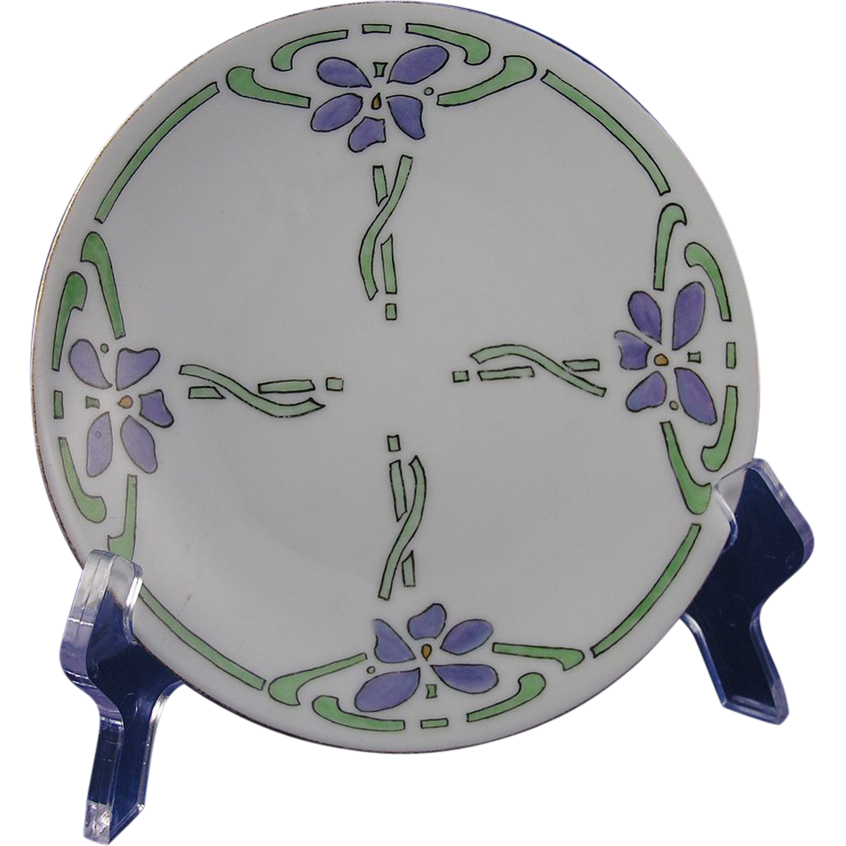 Hermann Ohme Austria Silesia Arts & Crafts Floral Motif Plate (c.1882-1918)