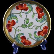 "Tressemann & Vogt (T&V) Limoges Stouffer Studios Poppy Design Plate (Signed ""ALF""/c.1906-1914)"