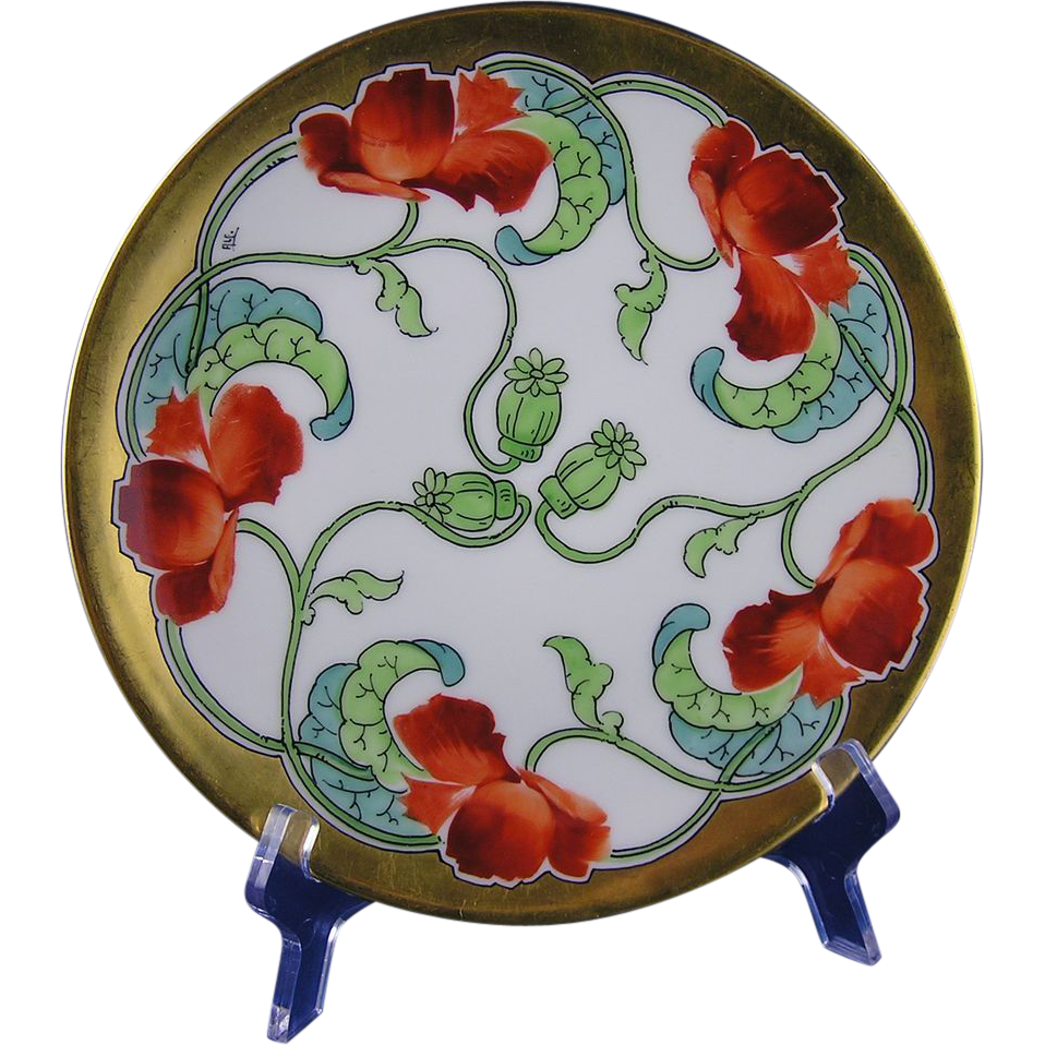 "Tressemann & Vogt (T&V) Limoges Stouffer Studios Poppy Design Plate (Signed ""ALF""/c.1906-1914)"