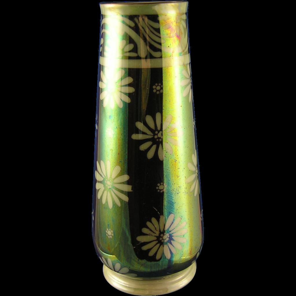 Epiag Czechoslovakia Green Lustre Floral Motif Vase (c.1918-1936)