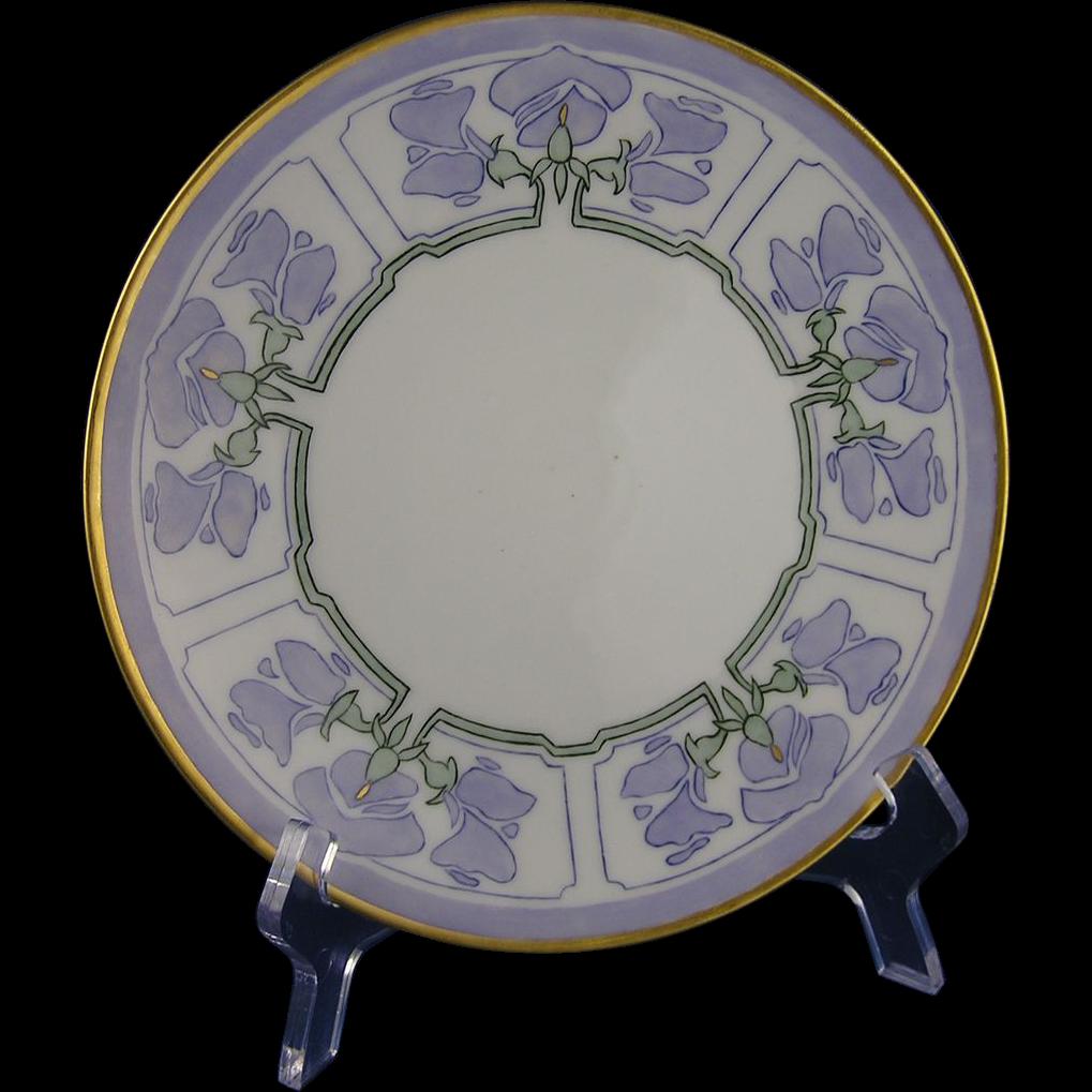Pfeiffer & Lowenstein (P&L) Austria Sweet Pea Floral Motif Plate (c.1914-1918) - Keramic Studio Design