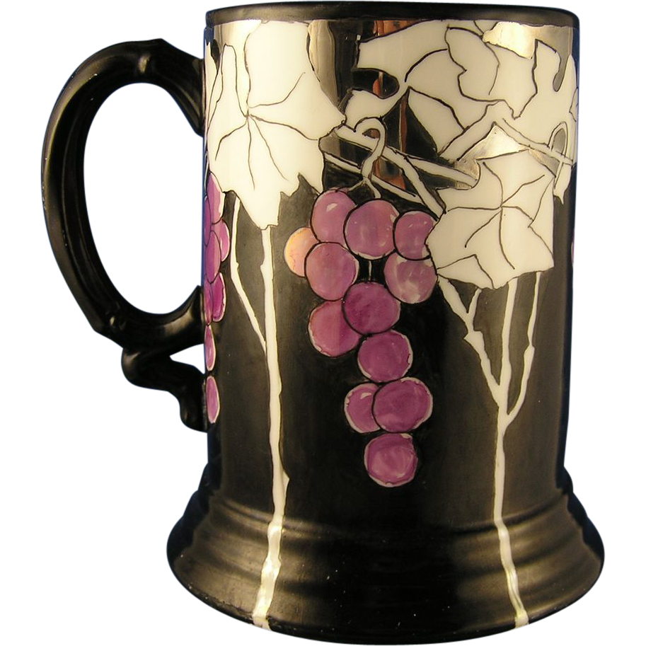 Jean Pouyat (JP) Limoges Arts & Crafts Platinum, Black & Lustre Grape Motif Tankard/Mug (c.1903-1932) - Keramic Studio Design