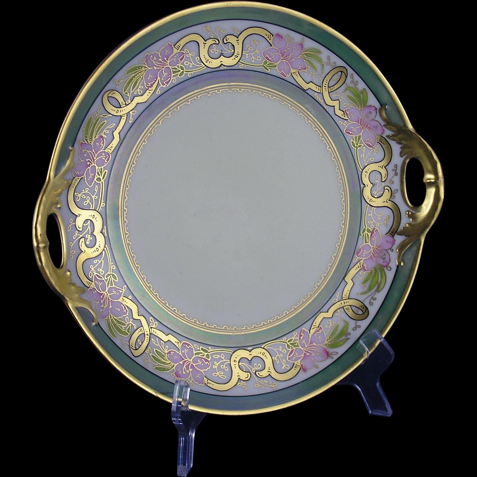 """Pitkin & Brooks Studio Haviland Limoges Floral Design Handled Plate (Signed """"Donath"""" for Edward W. Donath/c.1903-1910)"""
