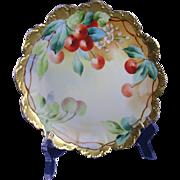 "Rosenthal Malmaison Bavaria Pickard Studios Cherries Motif Plate (Signed ""Blaha"" for Joseph Blaha/c.1903-1905)"