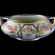 "Oscar & Edgar Gutherz (O&EG) Austria Pickard Studios ""Peaches Linear"" Design Bowl (Signed ""Beutlich""/c.1905-1910)"