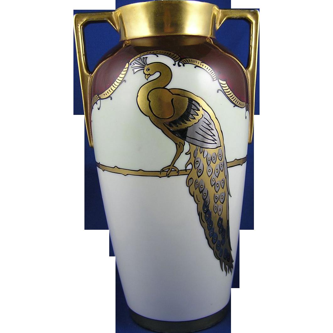 Heinrich & Co. (H&Co.) Bavaria Peacock Motif Vase (c.1896-1930)